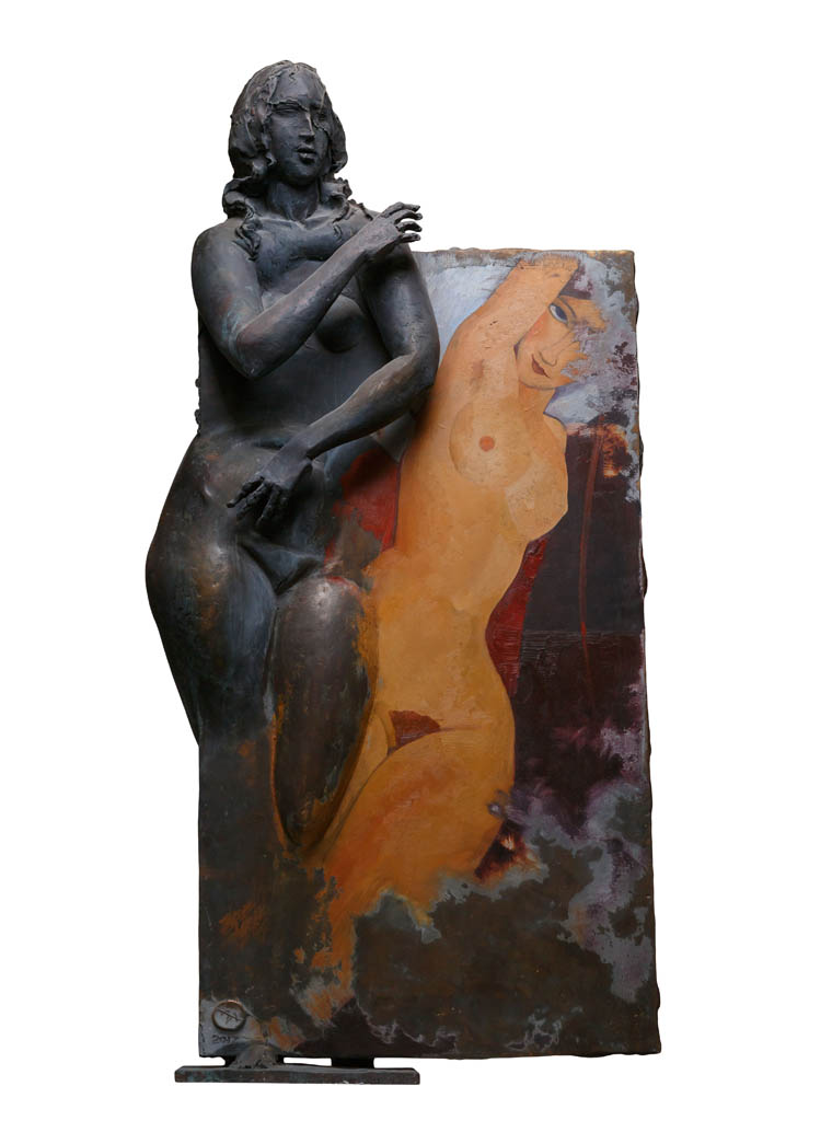 From the series The artist and the model Modigliani, bronze, oil color, 117x57x27 cm, 2017